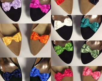 Any Color Ribbon Bow Spring Shoe Clips - You Choose