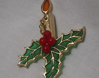 Christmas Candle with Holly and Red Berries Brooch
