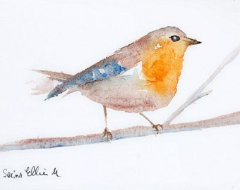 Original  watercolor of a robin - original painting of a bird on a branch - minimalist art