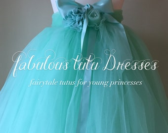 Handmade Minty Green Tulle Tutu Flower Girl Dress With Tulle & Chiffon Roses.