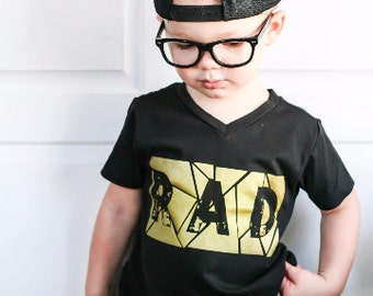 Trendy Baby Boy Clothes 1st Birthday Boy Outfit Hipster Toddler Clothes Birthday Gift For Toddler Boy Girl Black Rad Tee Gold