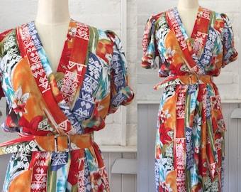 Vintage 80's Tropical Print Wrap Dress