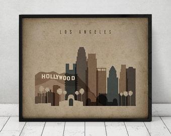 Los Angeles print, Poster, Wall art Los Angeles California skyline City poster Vintage style print Home Decor fine art Print, ArtPrintsVicky