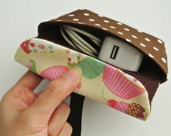 Cupcake Land Charger & Cable Storage, Cellphone Charger Holder, USB Cable Case, Traveller Gadget Organizer, Cable Holder - Made to Order