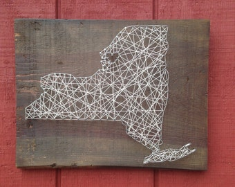 New York State String Art - Can Be Customized - Nail Art - Wall Art - Home Decor - NYC - Empire State - Wooden - Handmade - Handcrafted