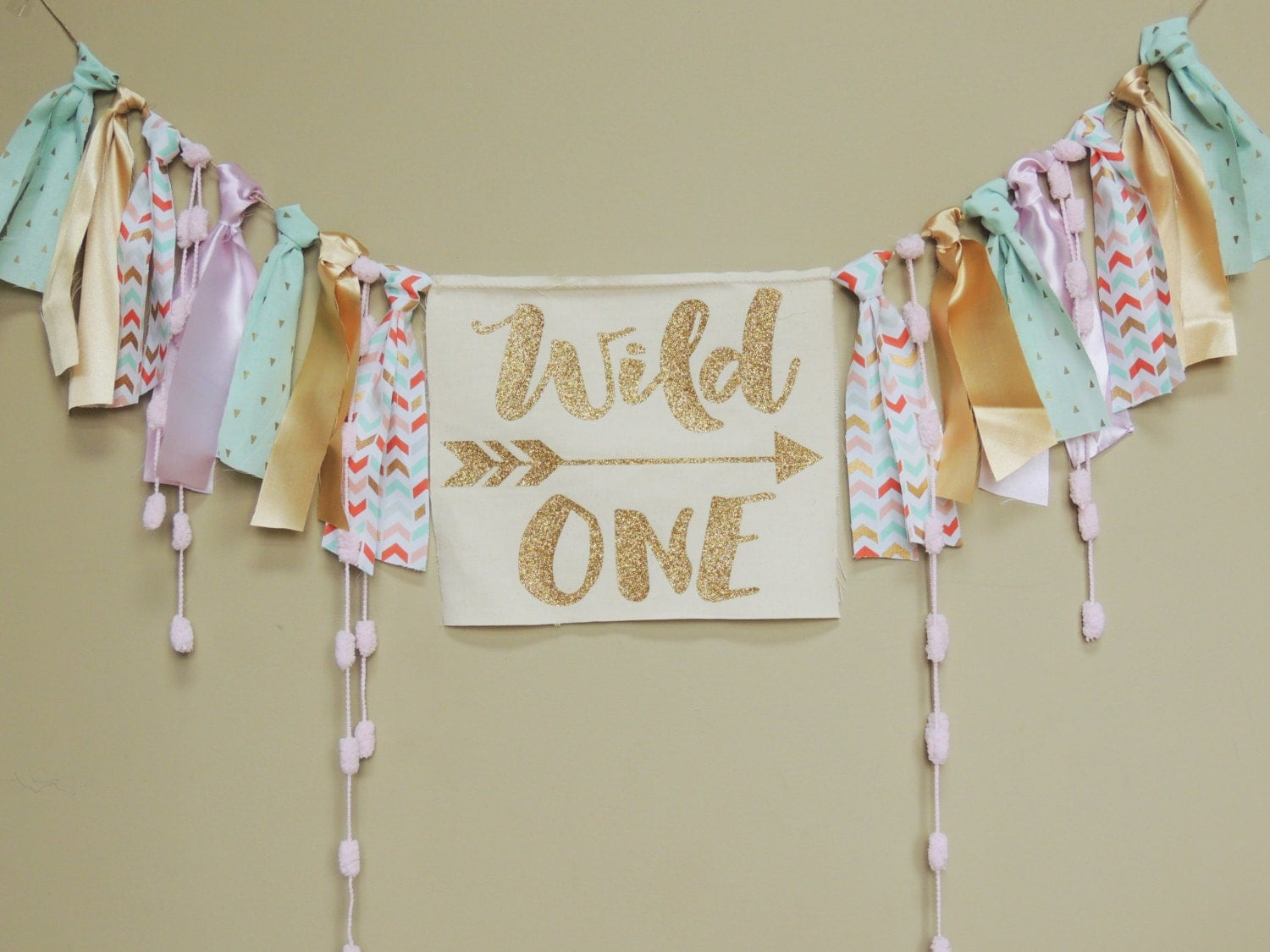 Wild one boho girls birthday party banner coral mint gold pink for 1 birthday decoration images