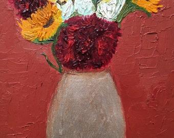 Floating flowers in vase