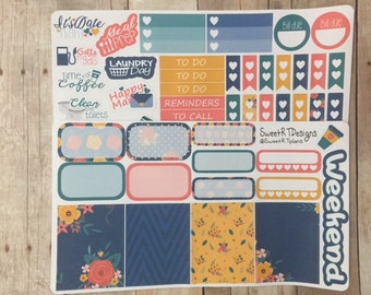 "Small Weekly Planner Sticker Kit ""Navy Bliss"""