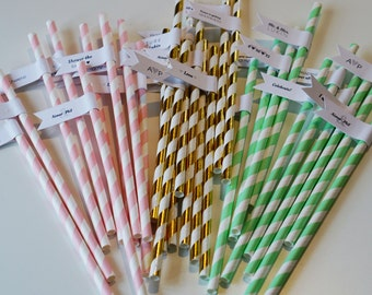 150 Engagement Party Straws with Custom Flags / Personalized Straws / Engagement Straws / Party Straws / Custom Straw Tags / Flag Tag