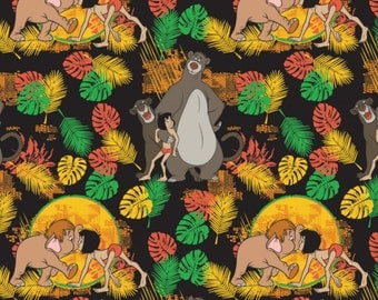 Disney Jungle Book Friends in Black Fabric From Camelot Sold by the Yard