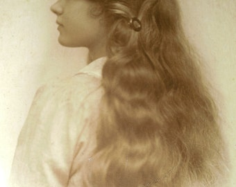 Vintage Antique Cardboard Real Person Photograph Photo Girl Child Long Hair