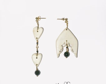 Heart and wing earrings