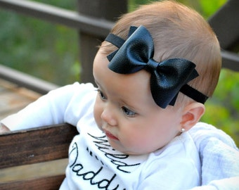 Black Faux Leather Bow // 3 sizes //headband or clip
