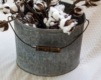 Galvanized metal oval shaped pail, galvanized metal bucket, bucket, pail, metal pail, metal bucket, farmhouse decor, farmhouse style