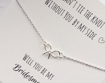FREE SHIPPING, Will you be my bridesmaid, tie the knot necklace, bow necklace, tiny bow necklace, wedding jewelry, silver, gold