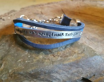 Because he's mine I walk the line, Back the Blue bracelet...real leather with riveted aluminum metal phrase and cross charm, large clasp,