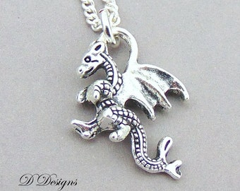 Dragon Necklace, Silver Dragon Pendent, Dragon Gifts, Fantasy Jewellery, Silver Charm Necklace, Silver Necklace, Pagan Necklace