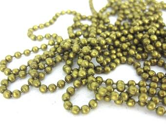 1 m - 2mm bronze ball chain