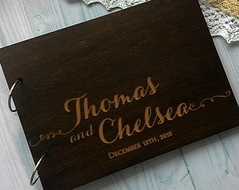 Wooden Wedding guest book, Rustic Guestbook Laser engraved Wood Guest Book, Rustic Custom Guest Book