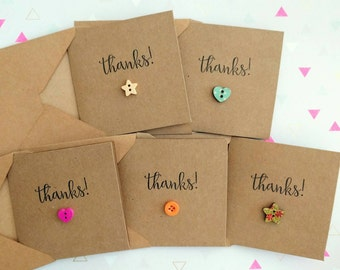 """Pack of 5 cute handmade """"Thanks!"""" thank you cards"""
