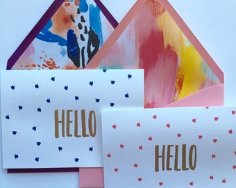 Cute Note Cards - Set of 4, Hello Card, Note Card, Greeting Card, Blank Note Card, Cute Blank Note Card, Note Cards, Blank Greeting Cards