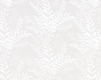 BEACON HILL CARNEGIE Hill Floral Embroidered Linen Fabric 5 Yards White