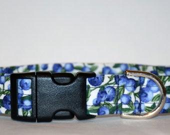 Blueberry Dog Collar – Summer Dog Collar - Fruit Dog Collar – Handmade Fabric Dog Collar