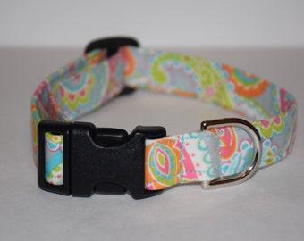 Dog Collar – Paisley Dog Collar - Summer Dog Collar – Neon Paisley Dog Collar – Paisley Print - Handmade Fabric Dog Collar