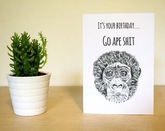 Gorilla birthday card, ape card, funny, pun card, illustration card, animal card, A6