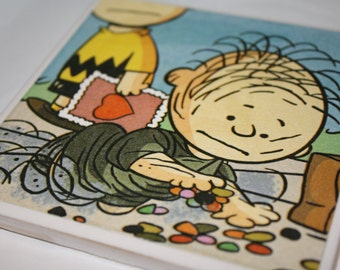 Charlie Brown themed, ceramic tile, drink coasters!  Set of 2!  Charlie Brown and Pig Pen! Cute Valentines day gift, housewarming gift!