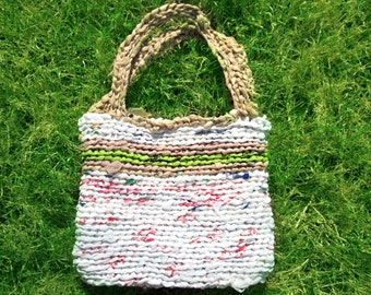 Crochet Upcycled Plastic Bag Mini Tote Purse, Recycled Grocery Bags