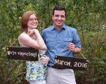 "Pregnancy Announcement Signs Photo Prop. Two (2) Signs ""We're Expecting"" & personalized due date. Tell the world there's a baby on the way!"