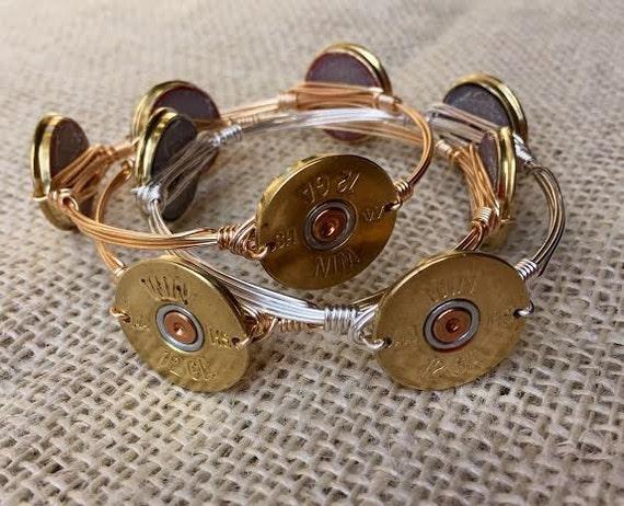 Shotgun Shell Bangle, Shotgun Shell Head Bangle Bracelet, Wire wrapped bangle bracelet