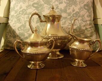 Tea Set / Silver / Vintage Set / Gift idea / Detail