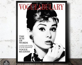 Vogue, Vintage, Audrey Hepburn, Art Print, Instant Download, Wall Decor, Digital, Wall Art, Magazine
