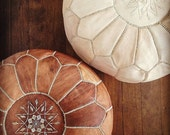 Set of 2 Amazing Moroccan pouf Tan Pouf & Natural Pouf Best offer, Ottomans,Footstool,100% handmade Ready to magic your living room! Leather