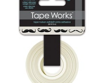 15mm Tape Works Mustaches Pattern Washi Tape. Moustache Washi. Mustaches Washi. Black and White Tape. Planner decor.
