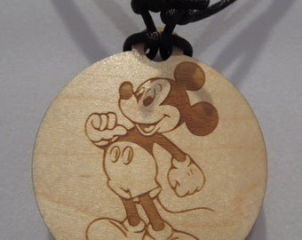 Mickey Mouse Inspired Character Sliding Knot Laser Engraved Necklace Fish Extender Gift