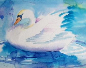 Swan Watercolor, White Swan Watercolor, Archival Print