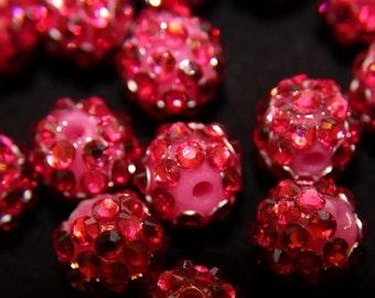 "Hot Pink Rhinestone Disco Ball Beads (3/8"")"