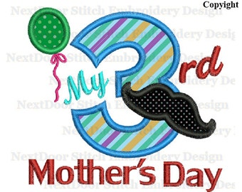 Mother's Day embroidery Design for boys 3rd, Mustache Balloon number 1-9 selection, mother-005-3