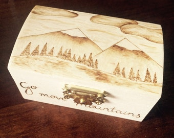 Mountain scene, wooden box, wooden trinket box, wood burned box, pyrography box, mini box, small wooden box, custom box, mountain design, go