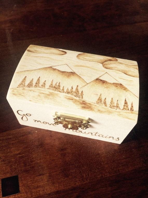 Mountain Scene Wooden Box Wooden Trinket Box Wood Burned
