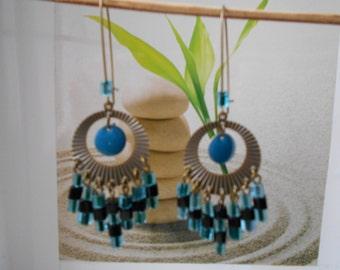 bronze Pearl rhinestone iuminous earrings blue and black