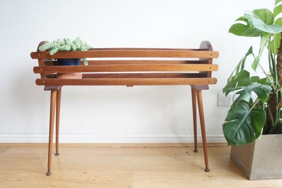mid century danish style teak plant stand indoor planter on. Black Bedroom Furniture Sets. Home Design Ideas