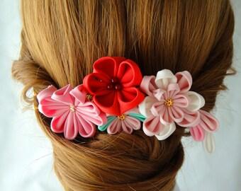 Tsumami Kanzashi Hair Comb, Kimono Yukata Outfit Wedding Ornament, Pink Red Flower with fall, NATSUKO