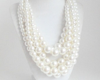 Multi Strand Chunky Pearls Necklace, Statement Necklace, Cream Pearl Jewelry