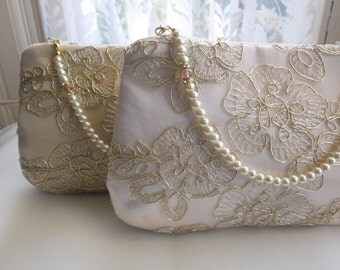 Gold Lace Clutch Bag, Purse, Wedding Clutch Bag, Evening Purse, Prom Purse, Lace Clutch