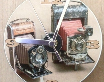Vintage Folding Cameras, Photography, CD Clock (Can be Personalised):
