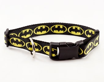 "Batman Dog Collar (3/4"" and 1"" widths) - Small - Medium - Large - Extra Large"